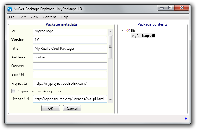 Package exlorer screen